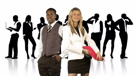 fundo branco : Animation of an Afro-American businessman and a blonde businesswoman posing in front of their team