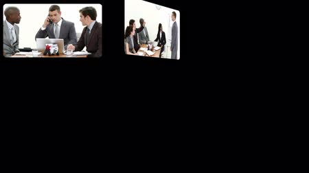 партнерство : Montage presenting business people at work in HD