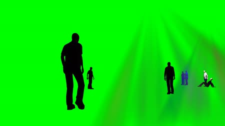 people talking : Animation of people talking together against a green background Stock Footage