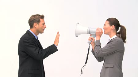 kobieta biznes : Businesswoman shouting through a megaphone against a white background