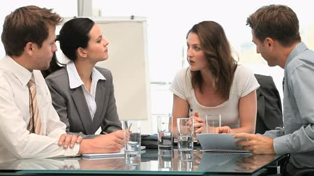 sala de reuniões : Woman manager speaking with her team during a meeting