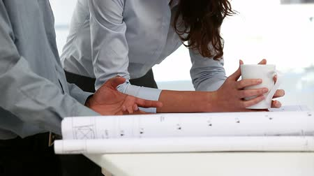 planos : two architects examining a plan in an office Stock Footage