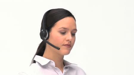 clientes : Customer service and support woman talking with headphones against a white background