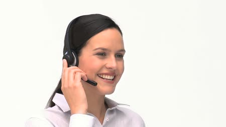 clientes : Customer service and support woman talking on the phone against a white background
