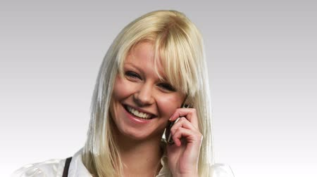 temsilci : Happy Blonde Woman on the phone talking