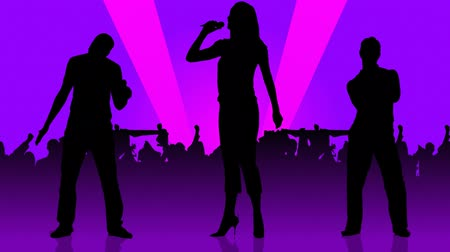 śpiew : Animation of two men and a woman silhouettes singing in front of the crowd