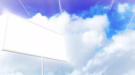előléptetés : 3d Animation of a Blank sign with clouds in the background