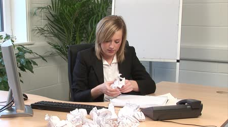 stres : Stock Video Footage of a woman Frustrated in Office Wideo