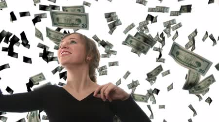 пари : Businesswoman catching Dollars - Composite Image Стоковые видеозаписи