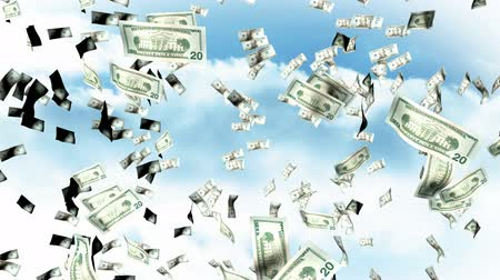 финансы : High Deinfition 3D Animation of Falling Dollars from the sky