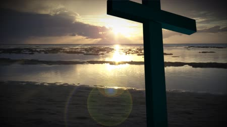 jézus : Religious stock footage of a Holy Cross Stock mozgókép
