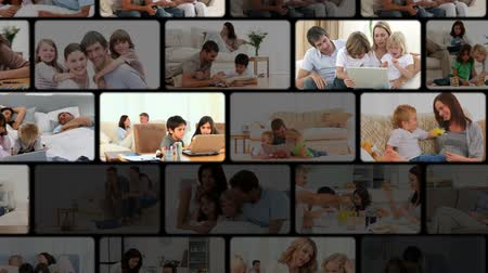 Домашняя жизнь : Montage of families enjoying moments at home