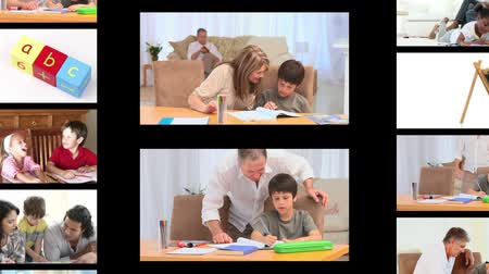 домашнее задание : Montage of families doing homework