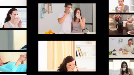 xícara de café : Montage of different people drinking coffee