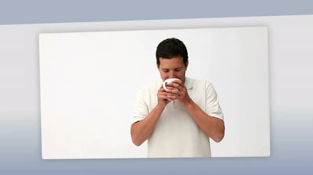 xícara de café : Montage of people enjoying a cup of coffee Stock Footage