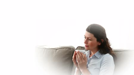 coffee time : Woman thinking about her son and her husband while having a coffee