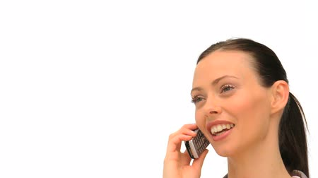 on the phone : Close up of a woman who is phoning Stock Footage