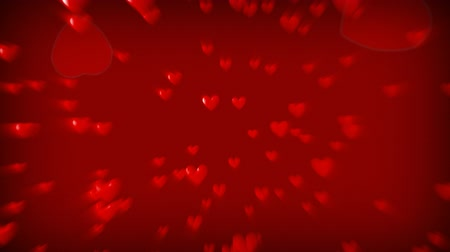 red symbol : 3d Animation fo Hearts Falling  Stock Footage