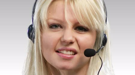clerical : Beautiful Blonde Caucasian Woman talking on a headset 3