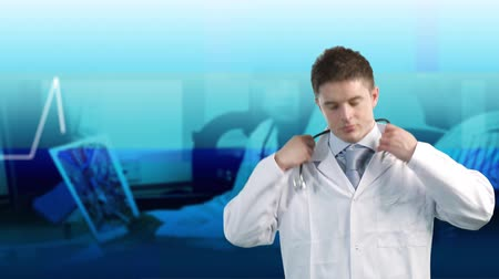 puls : Doctor holding a stethoscope and with ECG in background