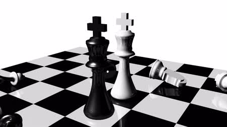 bordo : Animation of chess set in motion. Stand off. Concept of rivalry