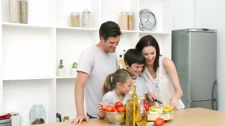 estilo de vida saudável : Family at home in Kitchen Preparing Lunch and having a good time Vídeos