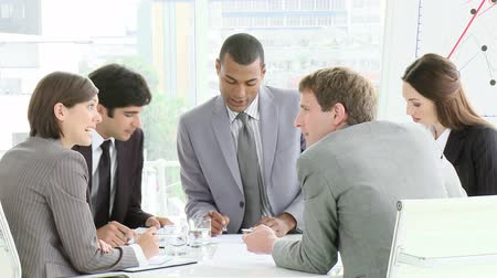 career success : Multi Cultural business meeting in high definition  Stock Footage