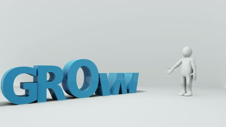 crescimento : Ascending blue letters spelling the word growth beside a model of a white child