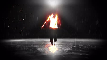 nowoczesne : A man in the video dancing as he stands on water while blurred Wideo