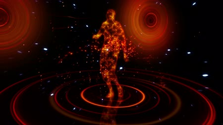ohnivý : Red and orange glowing dancer against  zooming in and out
