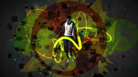 podzemní : Young man dancing hip hop against an animated background