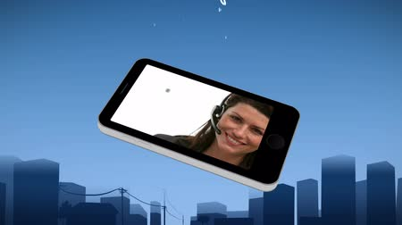 yardım hattı : Smartphone showing an operator against an urban background