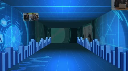 interior : Corridor of statistical data with videos about business meetings Vídeos