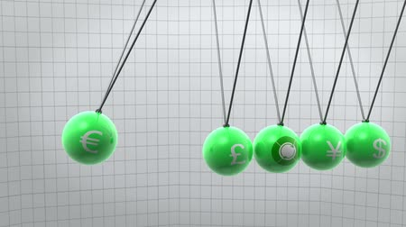 esferas : Swinging green newton pendulum with different currencies on it