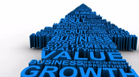 business values : Blue business related terms forming a rising arrow