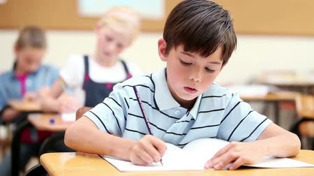 ручки : Serious pupil writing on his notebook in the classroom