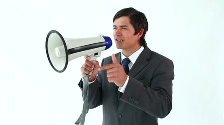 explicando : Happy manager using a megaphone against a white background