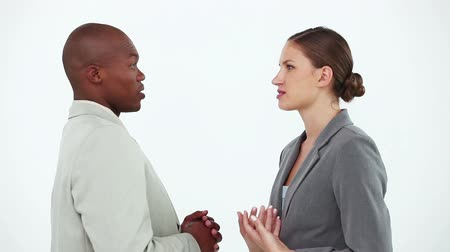 kobieta biznes : Business people talking to each other against a white background Wideo