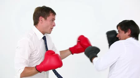 podnikatel : Business people boxing against white background