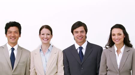 isolar : Business team walks and poses against white background Stock Footage