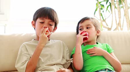 sağlıklı beslenme : Peaceful siblings eating red apples in the living room