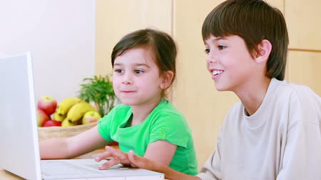 родной брат : Happy children grimacing in front of a laptop in the kitchen
