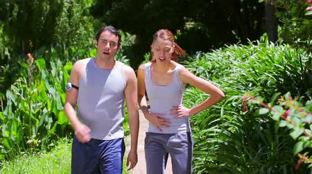 pedometer : Happy couple jogging together in a park Stock Footage