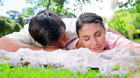 peaceful : Peaceful couple napping on a blanket in the countryside