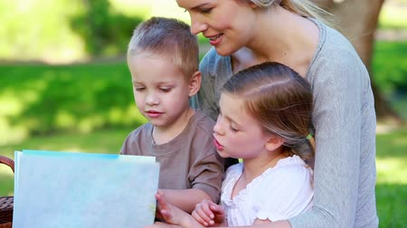 пикник : Children looking a picture book with their mother in a park Стоковые видеозаписи