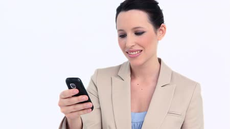 receber : Businesswoman holding a cellphone against white background