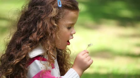 dmuchawiec : Girl blowing on a dandelion in a park Wideo