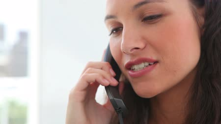 брюнет : Brunette haired woman talking on the phone in an office