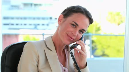 amarrado : Businesswoman on the phone and looking at camera in a bright office Vídeos