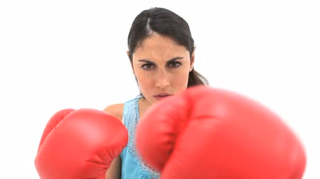boxe : Serious woman using boxing gloves against a white background Vídeos